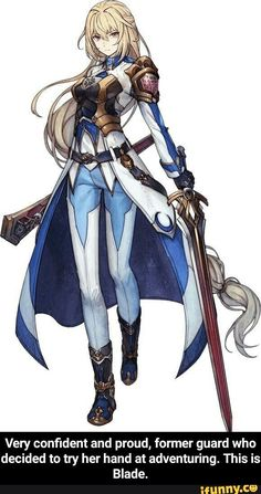 Anime girl with golden/red sword wearing a golden/bronze breast plate and blue and white clothing. Fantasy Girl, Fantasy Anime, Fantasy Armor, Fantasy Character Design, Character Design Inspiration, Character Art, Fantasy Characters, Anime Characters, Female Characters