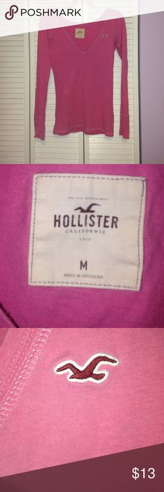 Pink Hollister long sleeve shirt medium Darking under neath arm pits But not noticeable at all - Hollister - pink long sleeve medium but cut small Hollister Tops Tees - Long Sleeve