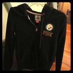 PINK steelers hoodie sweat jacket Steelers sweat jacket small NWOT Victoria's Secret Tops Sweatshirts & Hoodies