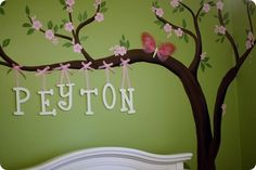 Hand painted cherry blossom tree tutorial for a babies room by googiemooma. She uses a stamp for the cherry blossoms and they looks great. -- i loveee this, cant wait to do Brinley's room! Girl Nursery, Girl Room, Baby Room, Family Tree Mural, Family Trees, Cherry Blossom Tree, Cherry Tree, Pottery Barn, Wall Murals