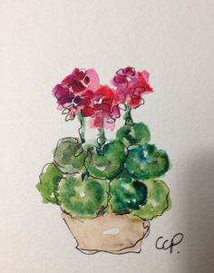 Red Geraniums Watercolor Card por gardenblooms en Etsy