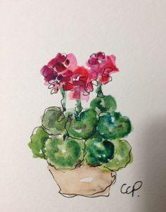Red Geraniums Watercolor Card por gardenblooms en Etsy