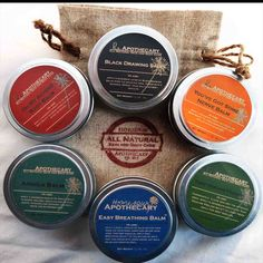 Herbal Healing Gift Bag with your choice of; You've Got Some Nerve Balm, Oh My Aching Body Balm and Arnica Balm or That Healing Feeling Balm, Black Drawing Salve and Easy Breathing Balm #hsapothecary