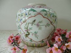 Pretty Antique Chinese Famile Rose Porcelain Ginger Jar In Pastel Colors by…