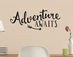 Adventure Awaits with Arrow Vinyl Wall Quote Sticker Wall Decal Decor Active Vinyl Wall Quotes, Vinyl Wall Decals, Wall Stickers, Sticker Vinyl, Car Decals, Classroom Themes, Classroom Organization, Letter Wall, Shop Interiors