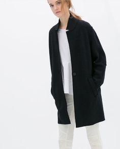 Fantastic chic wool coat by Zara- dark navy