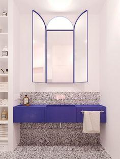 Iya Turabelidze of interior design company Concretica describes the styles… – Badezimmer einrichtung Blue Bathroom, Stylish Apartment, Interior Design Companies, Bathroom Inspiration, Blue Bathrooms Designs, Bathroom Interior Design, House Interior, Eclectic Bathroom, Bathroom Design