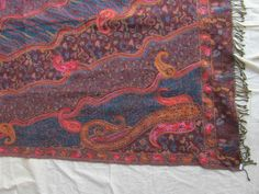 BOILED WOOL SHAWL PAISLEY HAND EMBROIDERY DESIGN JAMAWAR CASHMERE THROW BED 3991
