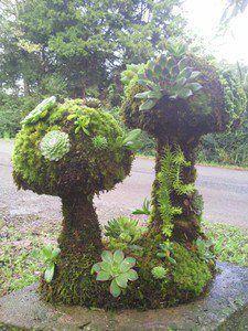 mushroom topiary; mushroom sculpture