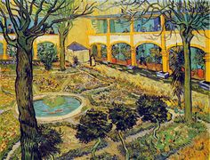 Vincent van Gogh: The Courtyard of the Hospital in Arles, 1889. - Google Search