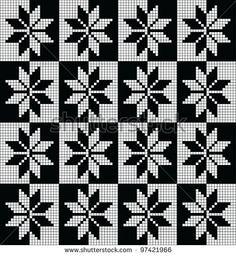 Black and white seamless pattern from norwegian stars