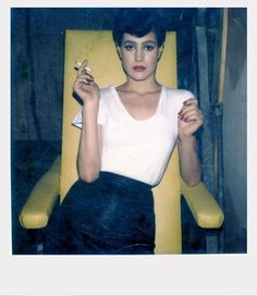 Sean Young takes a break on the set of Blade Runner