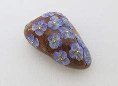 BLUE++FLOWER+HAND+PAINTED+STONE+UNIQUE+PAPERWEIGHT+GIFT+HOME++DECOR+ART+ROCK+