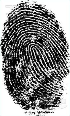 Illustration of Black and White Vector Fingerprint