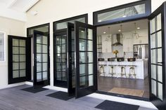 """Patio french doors - Sometimes a patio door is called a French door. The term """"French door"""" usually refers to a pair of glazed patio doors Black French Doors, French Doors Patio, Black Doors, French Patio, Exterior French Doors, Farmhouse Patio Doors, French Door Windows, Modern Patio Doors, Farmhouse Style"""