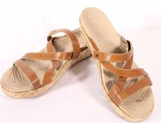 Crocs Size 9 A-Leigh Wedge Tan Brown Cork Strappy Slide Summer Sandals  #Crocs #PlatformsWedges #Casual