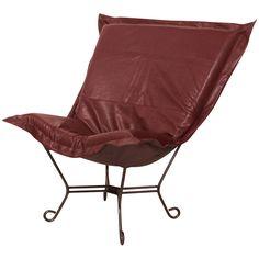 Howard Elliott Avanti Scroll Puff Chair with Mahogany Frame