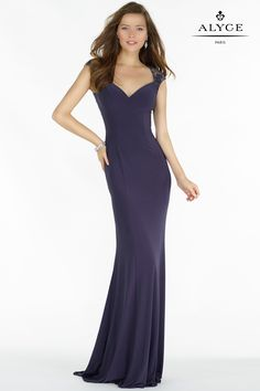 Alyce Prom 8017 Jersey style gown, slight v neckline with laced capped sleeves and a full laced back. Sheath Wedding Gown, Sexy Wedding Dresses, Bridesmaid Dresses, Prom Dresses, Formal Dresses, Robes D'occasion, Special Occasion Dresses, Designer Dresses, Evening Dresses