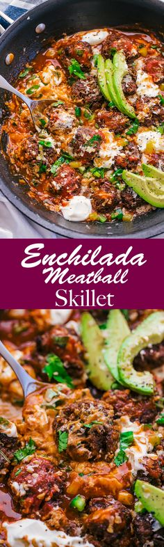 Craving creamy and delicious? This Enchilada Meatball Skillet will take your tastebuds over the top with each individual meatball packed with cheese and flavor. #enchiladameatballskillet #enchiladameatball #enchilada #enchiladaskillet #enchiladas #cheese #mexicanfood #theFoodcafe #cincodemayo