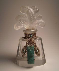 Antique Czech Jeweled Filigree Perfume Bottle. 1920's