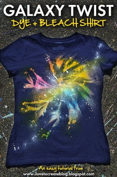 Try a fun take on traditional tie dye with this galaxy twist bleach and tie dye shirt tutorial from iLoveToCreate!