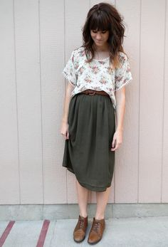 Full skirt, floral shirt and oxfords.