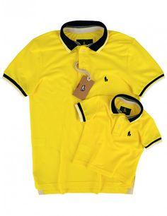 Kit Camisa Polo Tal Pai Tal Filho Gola e Punho Listrado (Amarelo Gema)