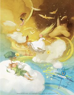 """The collection of tender illustrations for the children's books from Kim Minji, an illustrator from South Korea: new look at """"The Little Prince"""", """"Peter Pan"""" and others. Art And Illustration, Illustrations And Posters, Character Illustration, Watercolor Illustration, Peter Pan, Kim Min Ji, Storyboard, Illustrators, Fantasy Art"""