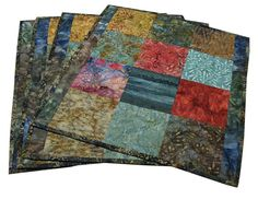 Quilted Placemats in Natural Colored Batiks Set by Sieberdesigns