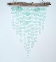 Sea Glass & Driftwood Mobile  Aquamarine by TheRubbishRevival, $105.00