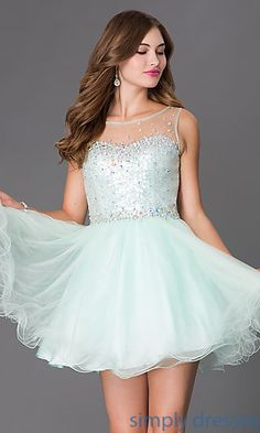 Dresses, Formal, Prom Dresses, Evening Wear: Short Sleeveless Dress with Sheer and Sequin Bodice
