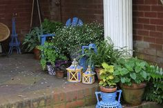 Painting lots of my garden decor in a bright blue...darker than those shown here. ~bzb