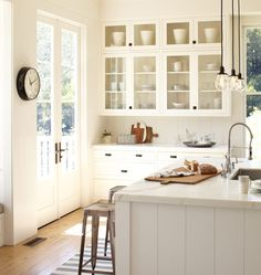 Baltimore Pendants in bright white kitchen | Rejuvenation