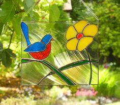 stained glass blue bird yellow flower 1