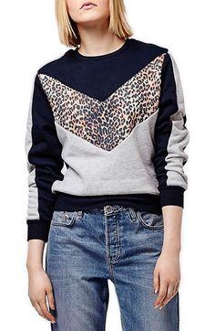 Topshop Leopard Print Colorblock Sweatshirt available at #Nordstrom