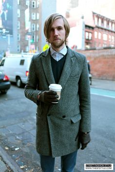 STREET FASHION STYLE: A San Francisco and New York Street Style Blog (SF to NYC!): Man Morsel Monday - Spread Collar   Warm Layers   Leather Gloves - Prince