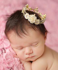 Ivory Flower & Gold Austrian Crystal Crown #zulily #zulilyfinds