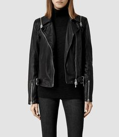 Womens Range Leather Biker Jacket (Black) - product_image_alt_text_1