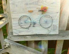 Bicycle With a Basket String Art by PurplePalletDesigns on Etsy