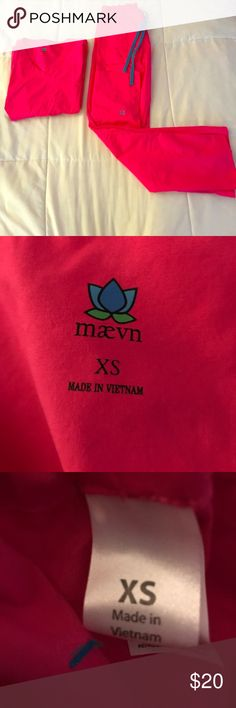 Maevn Scrub Set XS Maevn XS Scrub Set, EUC! Beautiful Pink with Blue Draw Strings & Stitching Maevn Tops