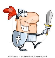 Royalty-free cartoon clipart picture of a proud knight walking tall in his armor, holding a sword and shield, on a white background. Knight clip by Hit Toon. Cartoon Knight, Walking Tall, Clipart Design, Vector Graphics, Royalty Free Images, Clip Art, Costumes, Sword, Illustration