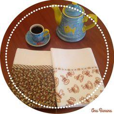 Paninhos de prato com estampa de café