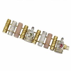 18 KARAT GOLD, CARVED ROCK CRYSTAL AND ROSE QUARTZ BRACELET, SEAMAN SCHEPPS