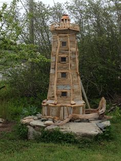 A wonderful piece of art! This lighthouse is made of driftwood and apple wood and can be seen in Doctor's Cove, Shelburne County!