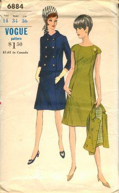 Dress Pattern Vogue 6884 Mod A Line Princess Seamed Dress Double Breasted Jacket Bust 34 Mod Fashion, 1960s Fashion, Vintage Fashion, Sporty Fashion, Steampunk Fashion, Gothic Fashion, Robes Vintage, Vintage Dresses, Vintage Outfits