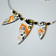 Black, White, Yellow and Orange Mokume Gane Necklace FREE SHIPPING