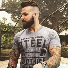 Cute short and full beard styles for men are changing rapidly and gaining lot of importance in the male society. Full beard style is the most popular trend Beards And Mustaches, Moustaches, Beard Styles For Men, Hair And Beard Styles, Goatee Styles, Hair Styles, Corte Hipster, Men Hipster, Estilo Hipster