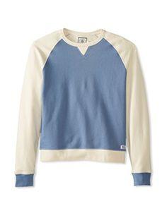 J. Press York Street Men's Long Sleeve Raglan Crew Neck Sweatshirt (Denim Blue/Cream)