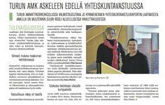 """Helsingin Sanomien liitteessä (9.3.2013) Sustainable Business 2013 on kirjoittamani artikkeli """"Turun AMK askeleen edellä yhteiskuntavastuussa"""", sivulla 20."""