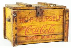 Coca-Cola Honor Box Countertop Cooler 1920s. Wooden with zinc lining and smaller capacity. Neat and historic with expected wear and marks